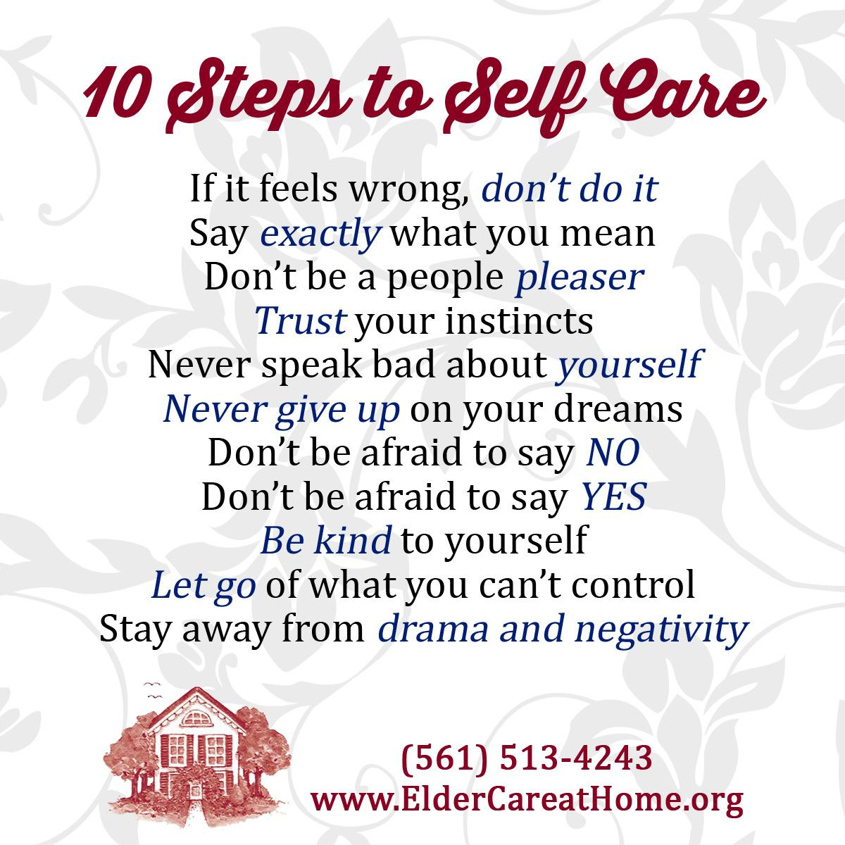 10 Steps To Self Care Copy Eldercare At Home