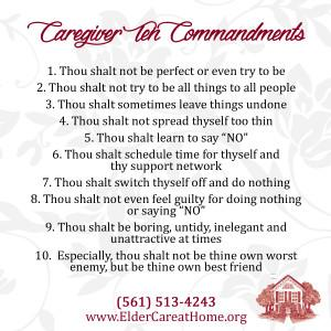 Caregiver 10 Commandments