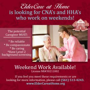 ECH is looking for caregivers for weekend care