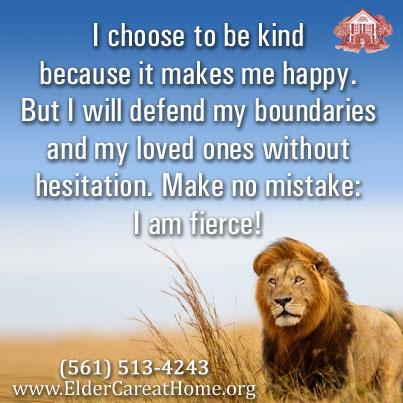 Lion I choose to be kind but will protect my boundaries. copy | ElderCare at Home